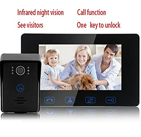 GZD 7 Inch Color HD Video Doorbell Home Wired Doorbell Smart Doorbell Villa Building Intercom Doorbell With Night Vision Function, A Key To Unlock, A Variety Of Ringtones, Touch The Doorbell