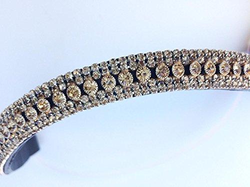 GS - Reitsport Stirnriemen Stirnband für Trensen mit filigran geschliffenen Kristallen geschwungen (37 cm) (Stirnband Filigranes)