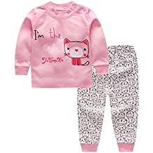 Zantec Pijamas 2 piezas ropa interior del bebé ocasional conjunto de manga larga camiseta pantalones largos pijamas lindos homewear regalo