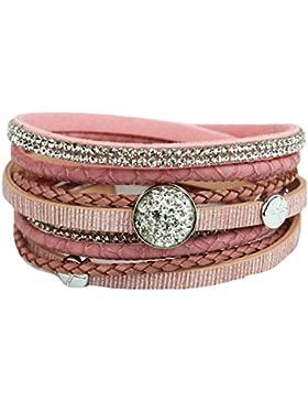 Mevina Damen Armband Glitzer geflochten Strass Wickelarmband Magnetverschluss Shamballa Glitzerarmband Luxus