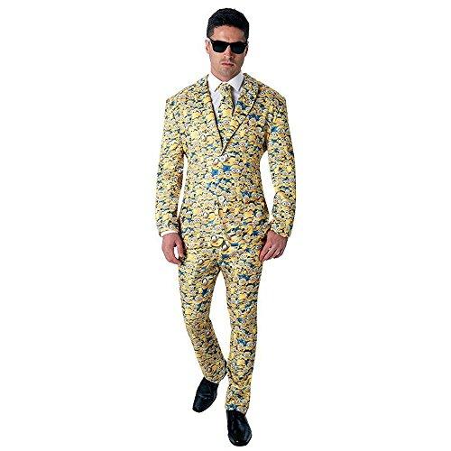 Herren Kostüm Minion Anzug mit Krawatte Karneval Fasching Gr.XL