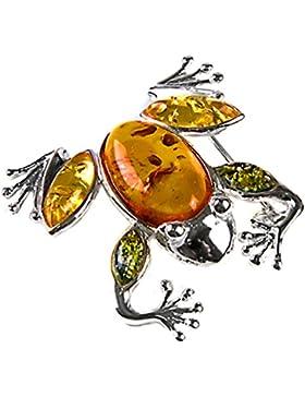Noda Anstecker Sterling-Silber 925 Bernstein Frosch mehrfarbig