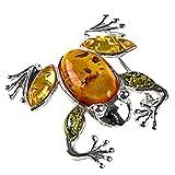 Noda - Pin de rana de plata de ley y ámbar multicolor