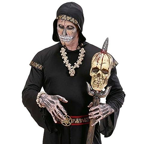 Halskette Totenkopf Halloween Totenkopfkette Voodoo Schädel Schädelkette Hals Kette Totenschädel Kostüm Zubehör