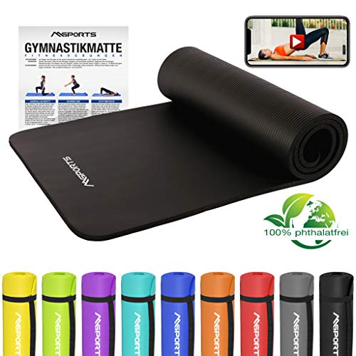 MSPORTS Gymnastikmatte Premium inkl. Übungsposter + Tragegurt + Workout App GRATIS | Hautfreundliche - Phthalatfreie Fitnessmatte - Schwarz - 190 x 60 x 1,5 cm-sehr weich-extra dick | Yogamatte