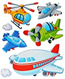 Unbekannt 7 tlg. Set: Fensterbild / Wandtattoo - Flugzeug & Helikopter - Wolken - Fahrzeuge - Fensterbilder / Fenstersticker - Selbstklebend Fensterdeko / Deko - Mädchen Jungen Kinder - Flugzeuge