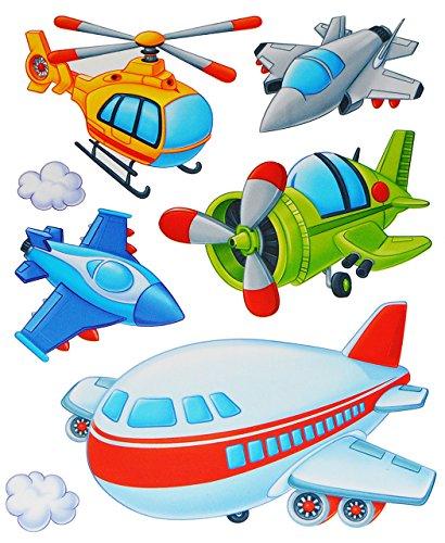 7 tlg. Set: Fensterbild / Wandtattoo - Flugzeug & Helikopter - Wolken - Fahrzeuge - Fensterbilder / Fenstersticker - selbstklebend Fensterdeko / Deko - Mädchen Jungen Kinder - Flugzeuge