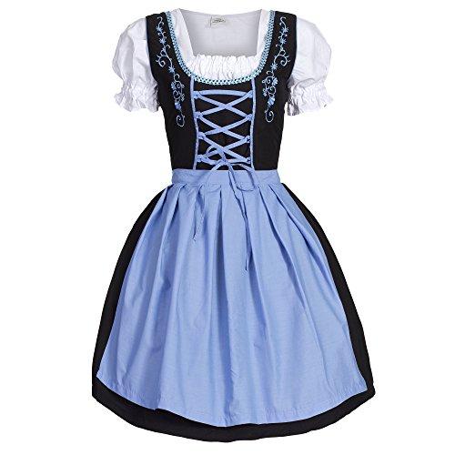 Dirndl 3 tlg.Trachtenkleid Kleid, Bluse, Schürze, Gr. 34-52 schwarz blau