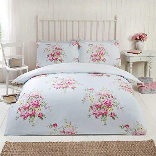 Blumenmuster Rosen Blumen Gepunktet Blaue Baumwolle Mischung Doppel Duvet Cover - Blaue Baumwolle Mischung