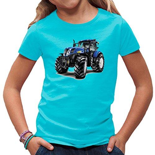 Traktoren Kinder T-Shirt - Traktor New Holland T7070 by Im-Shirt - Azurblau Kinder 7-8 Jahre
