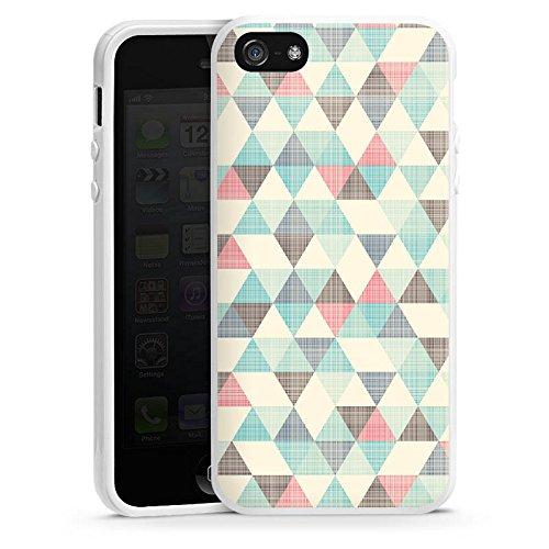 Apple iPhone 5c Housse Étui Protection Coque Triangles rétro Motif Motif Housse en silicone blanc