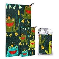 JOCHUAN Cute Frog Vector Seamless 2 Pack Microfiber Beach Blanket Towel Elegant Beach Towel Set Fast Drying Best For Gym Travel Backpacking Yoga Fitnes