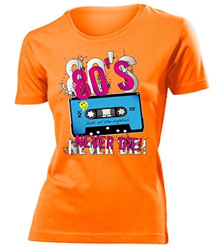 80er Jahre Kostüm Kleidung 4824 Damen T-Shirt Frauen Karneval Fasching Faschingskostüm Karnevalskostüm Paarkostüm Gruppenkostüm Orange ()
