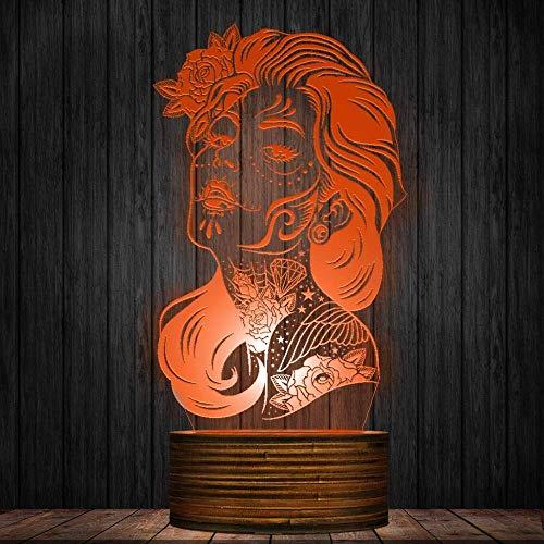 XINSU Home LED Tischleuchte 3D Nachtlicht Mädchen Zucker Schädel Dia De Los Muertos Halloween Atmosphäre Beleuchtung Dekor Geschenk