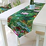 kaige Tischläufer Baumwolle Bettwäsche Fahne grün Couchtisch Tischfahne Bett Tail Handtuch