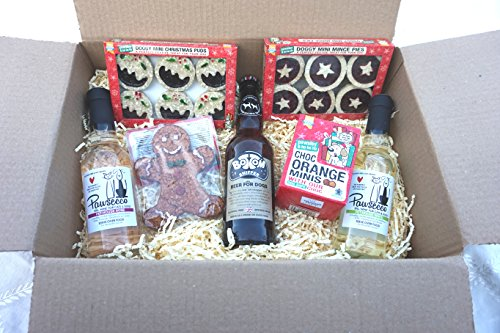 DOG CHRISTMAS HAMPER WINES BEER GINGERBREAD MAN MINCE PIES XMAS PUDS & CHOCOLATE ORANGE TREATS
