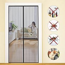 Icegrey Fliegengitter T/ür Insektenschutz Magnet Fliegen Gitter Vorhang Fliegenvorhang f/ür Balkont/ür Wohnzimmer Klettband Fassung Schwarz 75 x 200 CM