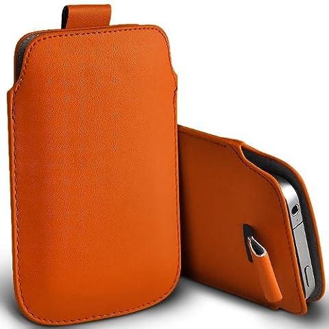 ONX3 HTC Tattoo Orange PU Leather Pull Tab Protecteur Poche étui
