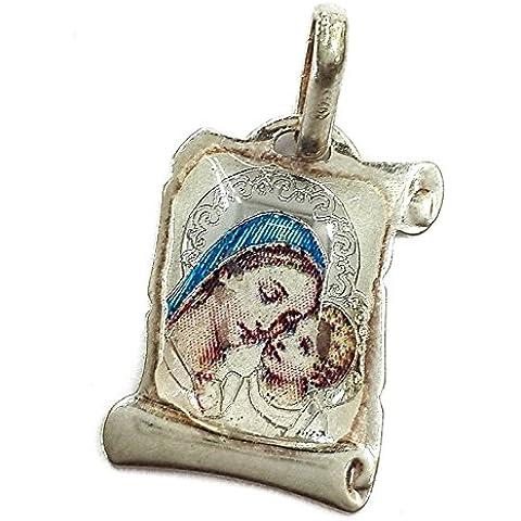 Vergine Maria con bambino JESUS SCROLL ciondolo argento 925 russo benedire e proteggere