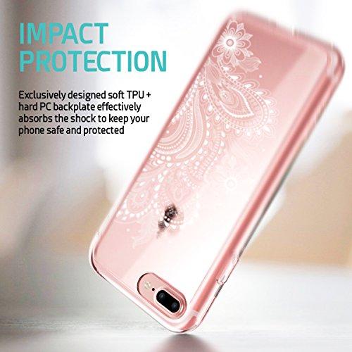 ZUSLAB iPhone 8 / iPhone 7 Hülle, Mandala Blumen Klar TPU Bumper Rahmen mit Plastik Hart Case Henna Durchsichtig Schutz Schutzhülle für Apple iPhone 8 / iPhone 7 [Weiß Paisley] Minze Mandala
