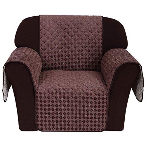 Wohl-H Rutschfest 2 Sitzer einzeln Sitzer 171x60 cm Sesselschoner in kaffeebraun, Rückseite mit Silikagel in Fuß-Muster, Sesselüberwurf aus 100g Vakuum - Baumwolle besonders für Haustier, Baby Familie