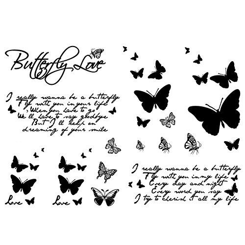Ouken corpo farfalla donne autoadesivo del tatuaggio per le donne falso impermeabile tatuaggio temporaneo nuovo disegni body art 1 pc