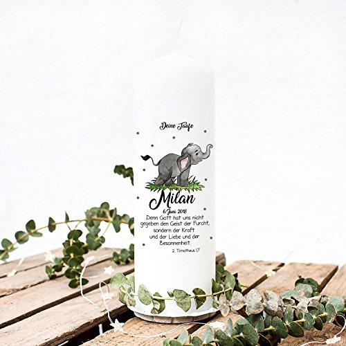 ilka parey wandtattoo-welt Taufkerze Kerze zur Taufe oder Geburt Kommunionkerze Elefant mit Punkten Spruch Wunschnamen & Datum wk49