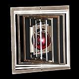 Edelstahl-Windspiel Quadrat klein Höhe -9cm x Breite -9cm mit Glaskugel Ø-25mm (rot) Für den Garten und als Fensterschmuck