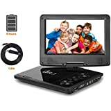 "DR.J 5 Hours 9.5"" Swivel Screen Portable DVD Player With Built-in Rechargeable Battery And USB/SD Card Reader"