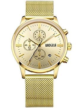 Uhren Männer Golden Edelstahl Mesh Armband Schwarz Zifferblatt Herren Uhr Milan Chronograph Datum Wasserdicht...