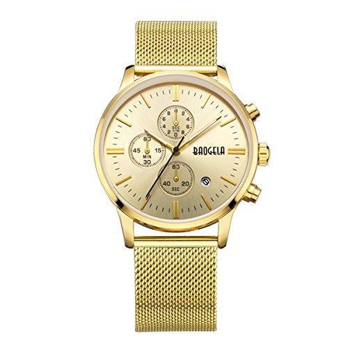 Uhren Männer Golden Edelstahl Mesh Armband Schwarz Zifferblatt Herren Uhr Milan Chronograph Datum Wasserdicht - AIMAL (Replik Männer Uhren)