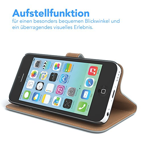 Apple iPhone 5C Tasche, EAZY CASE Book-Style Case Uni, Premium Handyhülle mit Kartenfach, Schutzhülle Geldbeutel mit Standfunktion, Wallet Case, Etui mit Kartenfach in Gelb Hellgrau - Uni