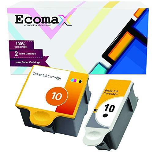 Ecomax 2er Set Druckerpatronen kompatibel zu Kodak 10 (10B + 10C) für Kodak ESP 3 ESP 5 ESP 7 ESP 9, Easyshare 5300 5500 ESP 3250 5250 7250 9250, Hero 7.1 Hero 9.1 Hero Office 6.1 (Kodak Esp 6150 Office)