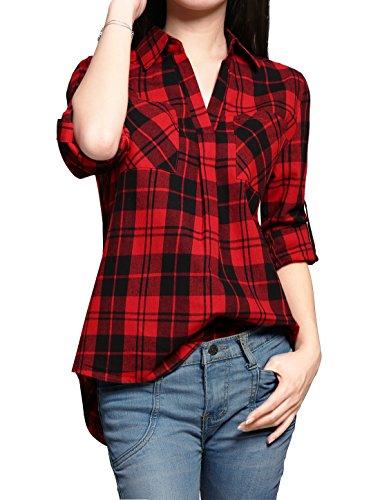 allegra-k-woman-long-sleeves-v-neck-high-low-hem-pullover-plaid-shirt-l-red