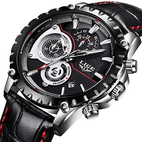 Montres pour Hommes,LIGE Hommes Mode Bande de Cuir imperméable Sport Militaire Horloge Montres Chronographe Calendrier Date Top Marque de Luxe Quartz Analogique Montres Bracelet Noir