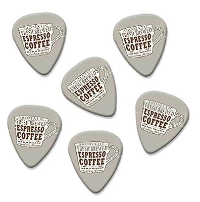 Espresso Coffee Cup Martin Wiscombe 6 X Guitar Picks Vintage Retro by Printed Guitar Picks