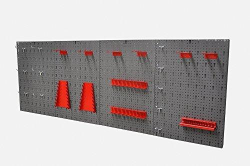 Große Lochwand bestehend aus 4 Lochblechen á 58 x 40 cm und Hakensortiment 22 Teile. Aus Metall in Hammerschlag-Grau und Rot. Gesamtmaß: 160 x 58 x 1 cm