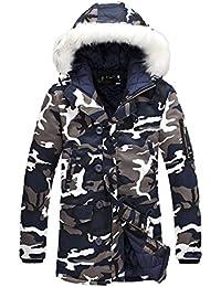 085c77aa4c5c mioim Herren Winterjacke mit Fellkapuze Camouflage Wintermantel Jacke  Mantel Parka Oversize Gefütterte S…
