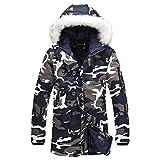 mioim Herren Winterjacke mit Fellkapuze Wintermantel Jacke Mantel Parka Oversize Gefütterte Blau Weiß Camouflage S