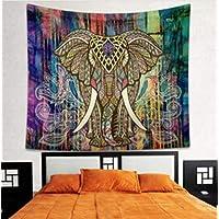 Türbehang Toran cremeweiß schwarz 117x95cm Ganesha Elefant Pfau Spiegel Deko