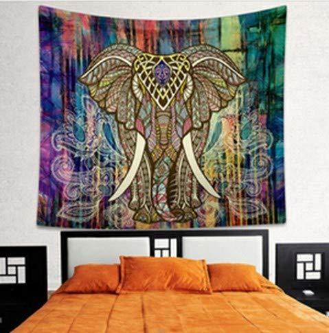 CMTO Vintage Poster Indischer Elefant Mandala Wohnzimmer Wandaufkleber Retro Gedruckt Dekorative Stoff Ganesha Bohe Wand Teppich Abziehbilder -