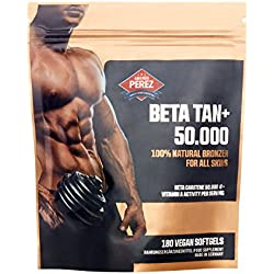 BETA TAN+/50.000 IE Beta Carotin pro Dosis - 180 vegane Softgels - 100% natural bronzer for all skins
