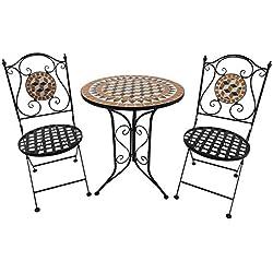 Outsunny Salon de Jardin 2 pers. 3 pièces Ensemble bistrot Style Fer forgé mosaïque 2 chaises + Table Ronde Pliables métal époxy anticorrosion Noir