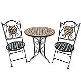 Outsunny Salon de Jardin 2 pers. 3 pièces Ensemble bistrot Style Fer forgé mosaïque 2 chaises + Table Ronde Pliables métal époxy anticorrosion Noir...