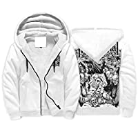 Born for-Anime Men Zip Up Loose-Fit Fleeced Hoody Students Eating Skull Printed Workout - Fearful Jacket white 3xl