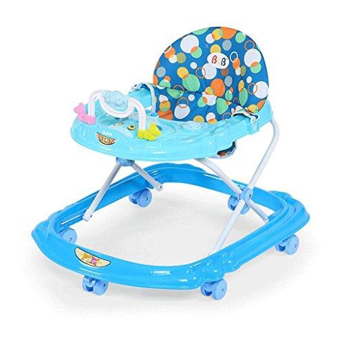 ZHAOJING Lauflernhilfe 6 / 7-18 Monate Anti-Überschlag Multifunktions mit der Musik, die U-förmige Baby-Wanderer faltet ( Farbe : Blau )