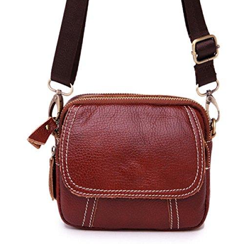 Herrenbrusttasche Lässig Leder Rucksack Umhängetasche Taschen Geschäft,Coffee brown