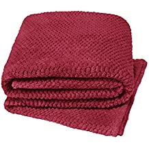 Manta suave y acogedora Teddy y palomitas de maíz, ideal para cama, silla o sofá, 100% poliéster/poliéster, Rojo, 125x150
