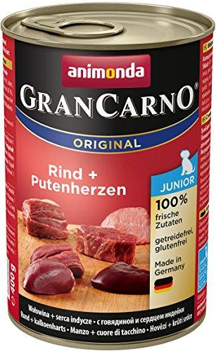 Animonda GranCarno Junior Rind plus Putenherzen 400 g - Hundefutter, 6er Pack (6 x 400 g)