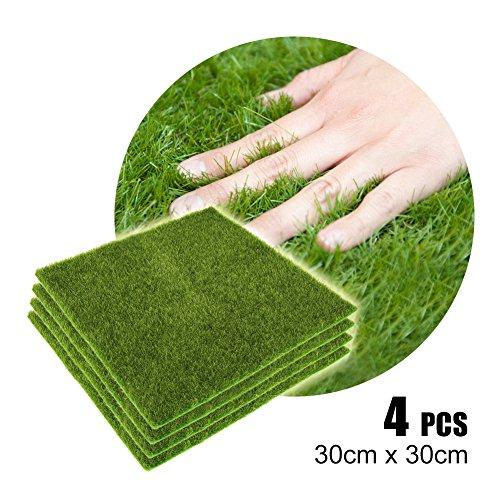 Yosoo - Tappeto di erba artificiale in plastica, effetto prato, per interni ed esterni, prato sintetico micro per decorazione, paesaggio, casa, giardino, colore: verde, 4 pezzi, 30x30cm